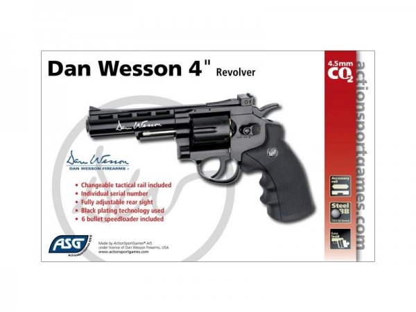 ASG Dan Wesson 4'' Revolver 4.5mm Black